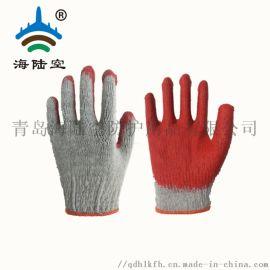 平胶手套 原白红色浸胶平板手套 天然乳胶涂层