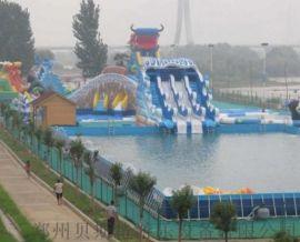 山东暑假小型儿童水乐园充气水池和水滑梯组成