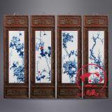 仿古實木鏤空雕刻瓷板畫字畫裝飾框
