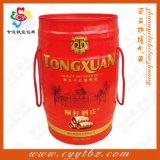 定做橡木桶铁盒,红酒铁桶,红酒桶铁罐,四只装铁桶,橡木纹铁桶