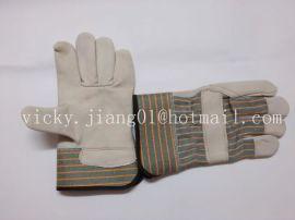 头层全掌二指条纹布皮手套