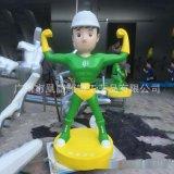 玻璃钢卡通消防员人物雕塑抗震救灾消防主题雕塑摆件