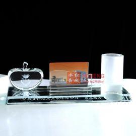 【厂家直销】水晶办公用品 水晶三件套 水晶摆件 水晶纪念品 定制