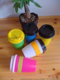 硅胶防烫塑料咖啡杯 带盖咖啡杯 欧式咖啡杯定制 可混批