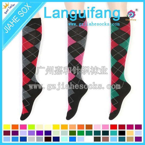 女士过膝棉袜 广州棉袜供应商 女士菱形袜