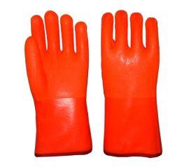 SDSHUNXING/顺兴劳保手套 荧光PVC磨砂手套 防寒保暖手套 复合布内衬 冷库严寒作业 外贸出口