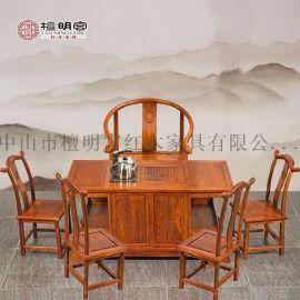檀明宫红木茶台六件套明清古典家具豪华刺猬紫檀小罗马茶台桌组合