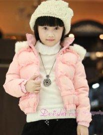 新款女童甜美短款儿童羽绒服(1119504)