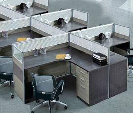 屏风办公桌简约现代职员办公桌椅组合4四人位