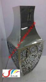 镂空镜面不锈钢制品,家居摆设中式不锈钢花盆花瓶
