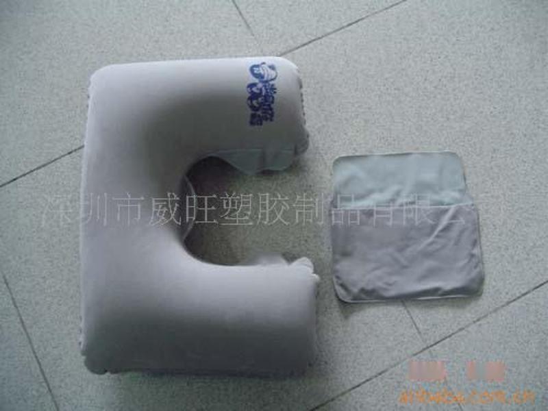供应 充气植绒枕头 旅行枕