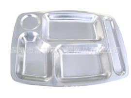 不鏽鋼五格快餐盤,0.9厚快餐盤,淨重410G