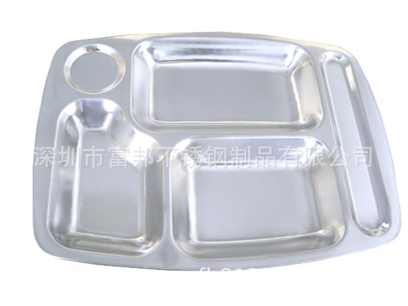 不锈钢五格快餐盘,0.9厚快餐盘,净重410G
