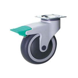 双菱脚轮全塑二档刹静音万向轮