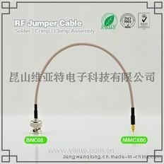 BNC08-MMCX05BNC(Plug)  公针 to MMCX(Plug)  公针直式铆压接RG316_RG174同轴电缆/50Ω