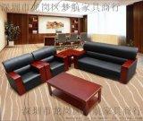 价  牛皮西皮三人位沙发茶几组合办公室沙发简约现代批发