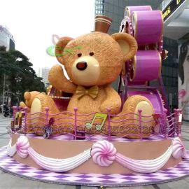 工厂定制玻璃钢小熊公仔雕塑 大型时尚景观美陈