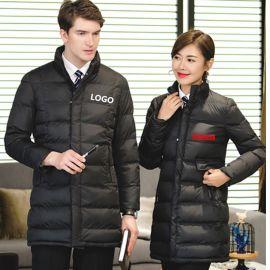 男士女职业装棉衣加厚保暖工作服羽绒棉服中长款冬季棉服工装棉袄