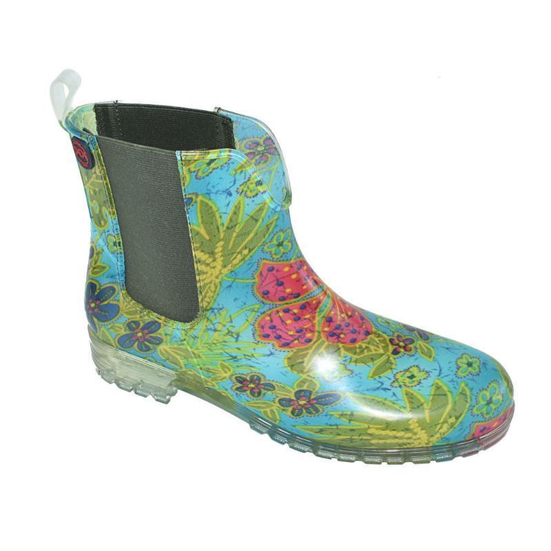 时尚短雨鞋女耐磨U字型松紧带雨靴花色水鞋防滑水靴防水成人胶鞋