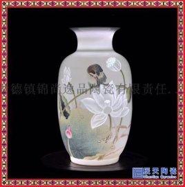 景德镇陶瓷手工粉彩半刀泥花瓶中式家居装饰创意摆件