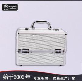 美易达高品质韩国双开铝合金化妆箱手提化妆箱