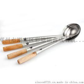 木柄不锈钢勺 无磁加厚炒勺 厨师专用铲勺 厂家直销