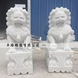 汉白玉石狮子|曲阳手工石狮子价格