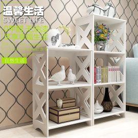 床头架雕花置物架木塑板书架创意落地收纳宽鞋架书房架子卧室客厅