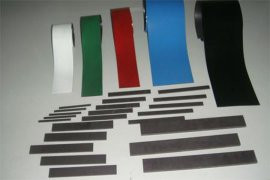 蒙兴隆磁铁 橡胶磁 覆白色PVC卷材 冰箱贴 覆胶磁条 橡胶磁-卷材 冰箱门封磁条 烧结软磁铁氧体 异性磁条 铁胶布