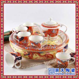 景德镇陶瓷功夫茶具 整套 茶具双层隔热茶盘茶杯茶壶