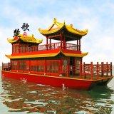 安徽黃山北京江西觀光畫舫木船 景區雙層餐飲船 帶亭子水上餐廳旅遊船 電動觀光船景區雙層畫舫船
