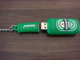 啤酒瓶造型钥匙扣优盘礼品可来图来样定做