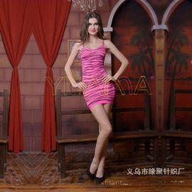 情趣丝袜批发厂家直供2017倾情爆款性感情趣玫红豹纹连身短裙内衣