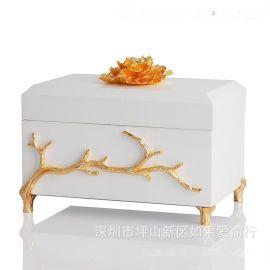 白色金色长方形木质烤漆合金首饰盒欧式创意客厅卧室酒店实木摆件