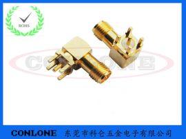 RP-SMA射频接头 反极性SMA-kwe板端镀金弯头