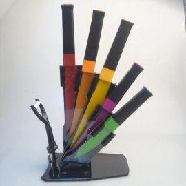 7件套尖尾双色柄三色图案陶瓷刀 亚克力座套刀