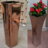 定製戶外高檔商場用不鏽鋼創意花盆方形花器