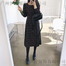 法恩莎  恋白品牌雪纺连衣裙批发 品牌货源 尘色折扣女装批发