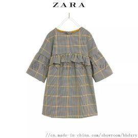 童装女裙 格子连衣裙