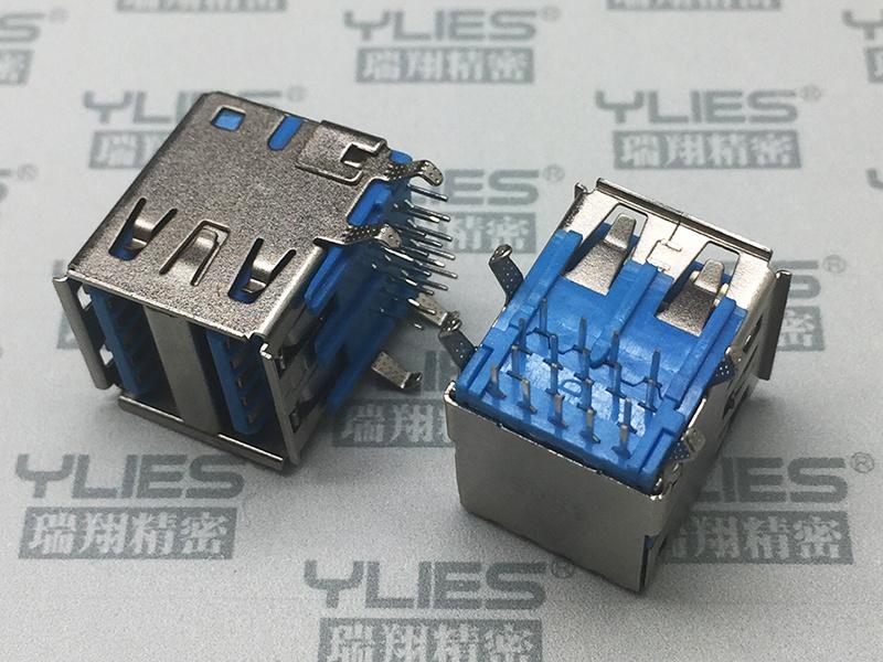 506-USB連接器 3.0母座雙層90度