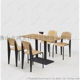 廠家定製新款四人位靠背食堂快餐桌椅