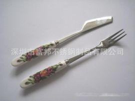不锈钢陶瓷柄刀叉(多款花色)