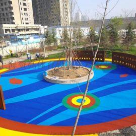 蓝色塑胶跑道 幼儿园地垫 彩色透水混凝土