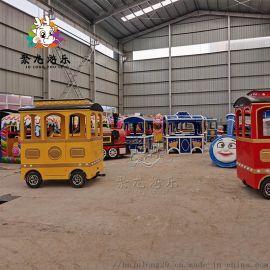 复古观光小火车大型景区儿童电动游乐无轨火车
