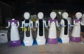 深圳**1.4米玻璃钢工艺品-餐厅送餐机器人雕塑
