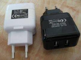 ASIA908CE认证5V3.1A双USB充电器 3100mA墙壁充电器 USB AC adapter