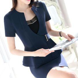 2019新款夏季酒店職業女裝套裝面試西裝套裝修身工作服藍色黑色