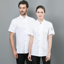 中国风唐装厨师服餐厅夏装餐饮厨房工作服时尚亚麻厨衣
