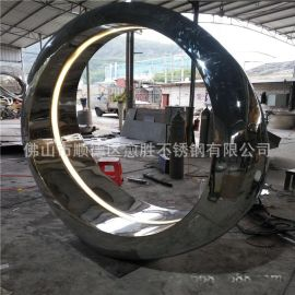 水景雕塑  碧桂园镜面不锈钢月亮雕塑  大型金属装饰摆件厂家定制