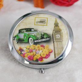 义乌化妆镜厂家供应金属圆形折叠便携美容小镜子 礼品广告化妆镜